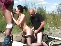 brunette outdoor gangbang fun