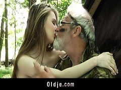 huge nailed Grandpa mounts Nympho Teeny In The Woods