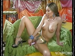 thin broad plays with dildo