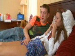 teen plays with schlong