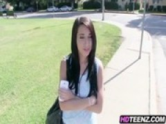 Paying hot teenie on street to fuck on camera